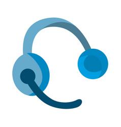 Headphones isolated blue cartoon flat headset vector