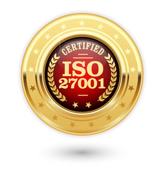 iso 27001 certified medal - information security m vector image