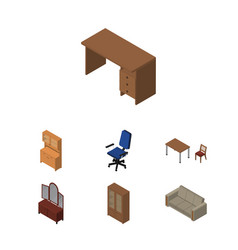 isometric furniture set of couch table office vector image