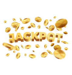 jackpot with golden coins realistic jackpot money vector image