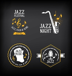 Jazz music party logo and badge design vector