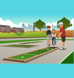 Kids playing mini golf vector