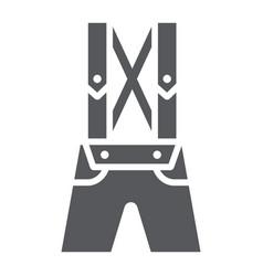 Leather trousers lederhosen glyph icon clothes vector
