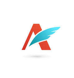 Letter a wing logo icon design template elements vector