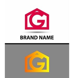Letter g logo with home icon vector image