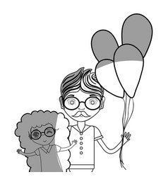 Line father with his daughter and balloons vector