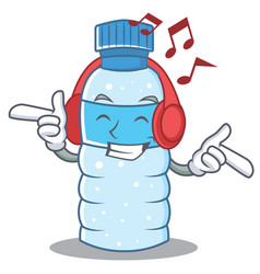 listening music bottle character cartoon style vector image