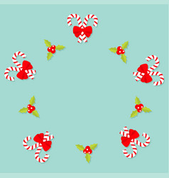 merry christmas candy cane stick with red bow vector image