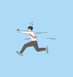 Motivated man run fast reaching goal vector