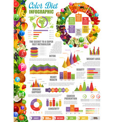 Nutrition and color diet infographic with charts vector