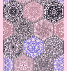 oriental seamless pattern with mandala vector image