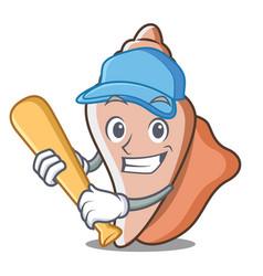 playing baseball cute shell character cartoon vector image