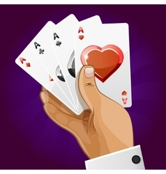 poker playing card in hand vector image