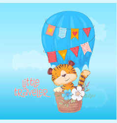 poster cute tiger cub flies in a balloon cartoon vector image