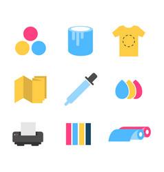 print icons set flat design vector image