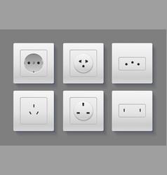 realistic detailed 3d socket set vector image