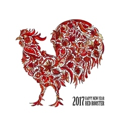 Red rooster for the Chinese New year 2017 vector