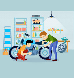 Repair motorcycle composition vector