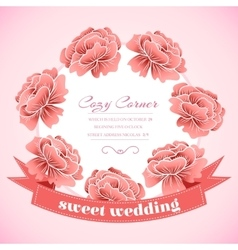 Retro flower circle with ribbon concept vector