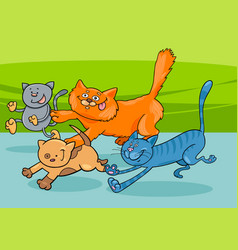 running cats group cartoon vector image
