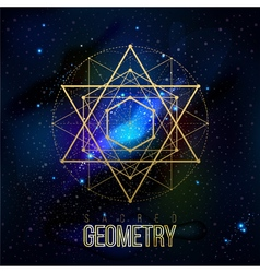 Sacred geometry forms on space background vector