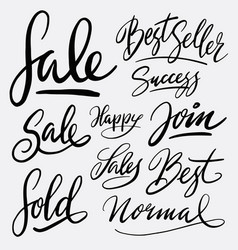 sale and best seller hand written typography vector image