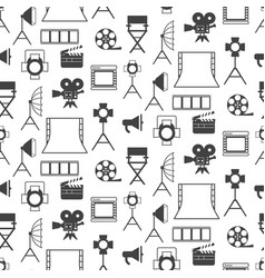 seamless pattern with black video production icons vector image