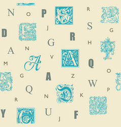 seamless pattern with capital and initial letters vector image