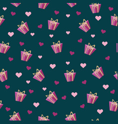 seamless pattern with gift box and bow with heart vector image