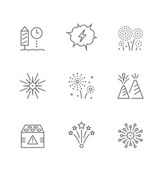 Set line icons firework vector