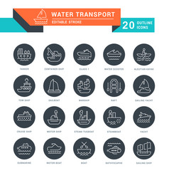 set line icons water transport vector image