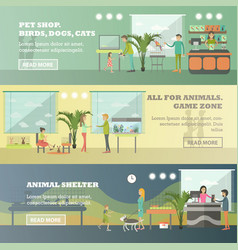 set of pet store horizontal banners in flat vector image