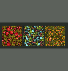 set seamless floral patterns graphics vector image