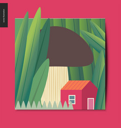 simple things -mushroom house vector image