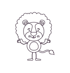 Sketch contour caricature of cute lion happiness vector