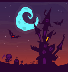 spooky old ghost house halloween cartoon vector image
