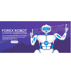 stock exchange trading robot with diagram vector image