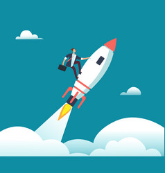 successful happy businessman flying on rocket to vector image