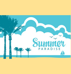 summer tropical seascape with palms and sailboat vector image