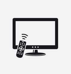 tv with remote control icon vector image