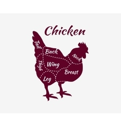 Typographic chicken butcher cuts diagram vector