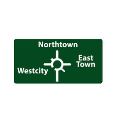 Usa traffic road signs upcoming roundabout exits vector