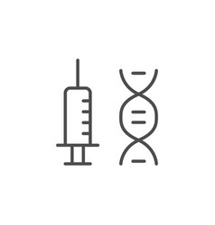 vaccine or syringe line outline icon vector image