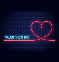 valentines day neon banner heart neon vector image