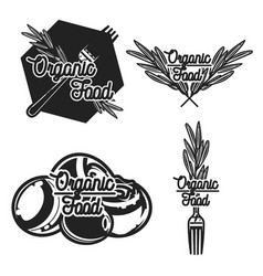 vintage organic food emblems vector image