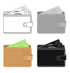 wallet with cash icon in cartoon style isolated on vector image