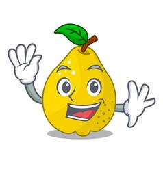 Waving bunch cartoon of juicy yellow quinces vector