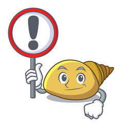 With sign mollusk shell character cartoon vector