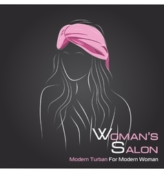 Woman look at side in pink turban on black vector