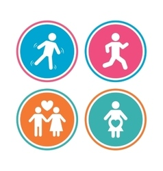 Women pregnancy icon Human running symbol vector